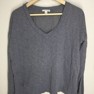 James Perse Boxy V Neck Pullover Sz 3 Gray Solid
